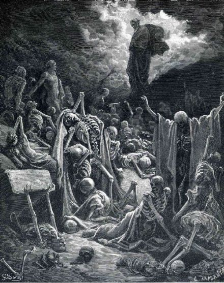 Dore, Gustave: The Vision of the Valley of Dry Bones. Fine Art Print.  (002627)